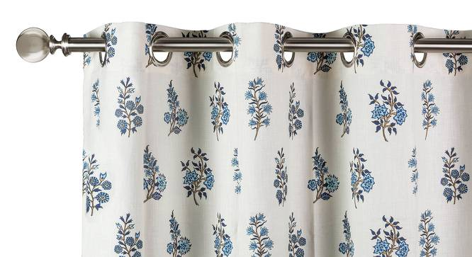 "Calico Curtains - Set of 2 (54""x84"" Curtain Size, Indigo - Leaves & Blossoms Pattern) by Urban Ladder"