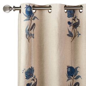 "Calico Curtains - Set of 2 (54""x84"" Curtain Size, Indigo - Lone Flower Pattern) by Urban Ladder"