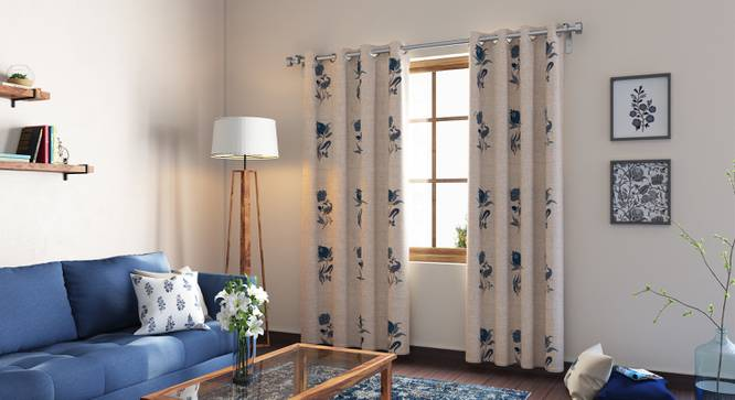 "Calico Curtains - Set of 2 (54"" x 108"" Curtain Size, Indigo - Lone Flower Pattern) by Urban Ladder"