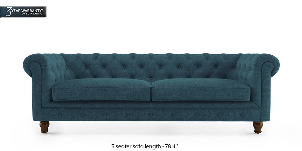 Winchester Fabric Sofa (Colonial Blue) (3-seater Custom Set - Sofas, None Standard Set - Sofas, Fabric Sofa Material, Regular Sofa Size, Regular Sofa Type, Colonial Blue) by Urban Ladder - - 177069