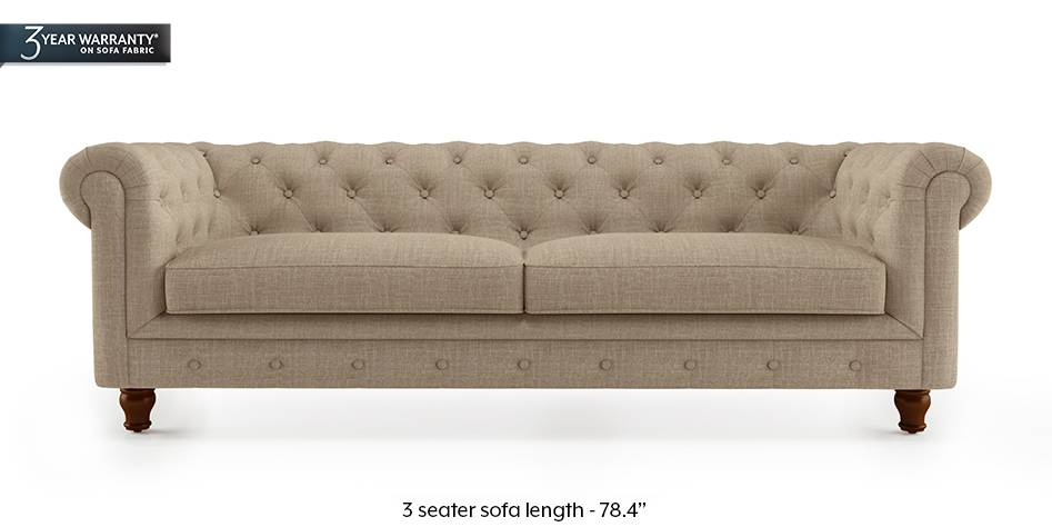 Winchester Fabric Sofa (Sandshell Beige) (3-seater Custom Set - Sofas, None Standard Set - Sofas, Fabric Sofa Material, Regular Sofa Size, Regular Sofa Type, Sandshell Beige) by Urban Ladder - - 177091