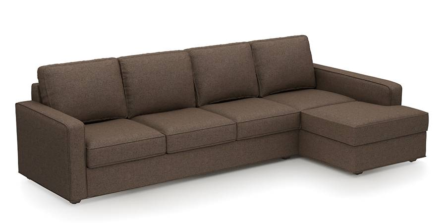 Apollo Sofa Set (Fabric Sofa Material, Regular Sofa Size, Soft Cushion Type, Sectional Sofa Type, Sectional Master Sofa Component, Pine Brown, Regular Back Type, Regular Back Height) by Urban Ladder - - 178687