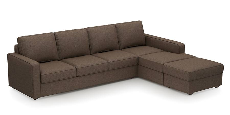 Apollo Sofa Set (Fabric Sofa Material, Regular Sofa Size, Soft Cushion Type, Sectional Sofa Type, Sectional Master Sofa Component, Pine Brown, Regular Back Type, Regular Back Height) by Urban Ladder - - 178689