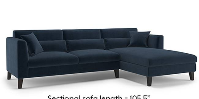 Lewis Sofa (Fabric Sofa Material, Regular Sofa Size, Soft Cushion Type, Sectional Sofa Type, Sectional Master Sofa Component, Sea Port Blue Velvet)