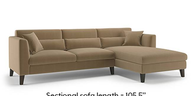 Lewis Sofa (Fabric Sofa Material, Regular Sofa Size, Soft Cushion Type, Sectional Sofa Type, Sectional Master Sofa Component, Fawn Velvet)