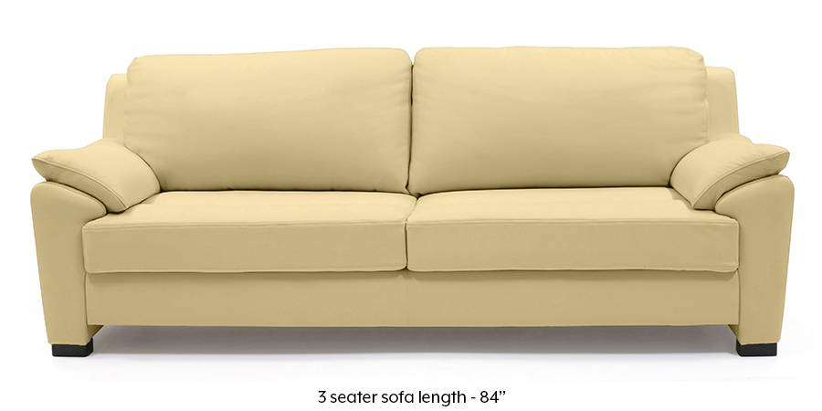 Farina Half Leather Sofa (Cream Italian Leather) (Cream, Regular Sofa Size, Regular Sofa Type, Leather Sofa Material) by Urban Ladder - - 185344