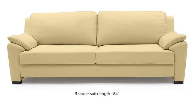 Farina Half Leather Sofa (Cream Italian Leather) (Cream, Regular Sofa Size, Regular Sofa Type, Leather Sofa Material)