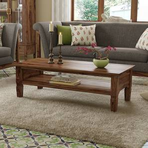 Malabar Storage Coffee Table (Teak Finish, With Shelves Configuration) by Urban Ladder