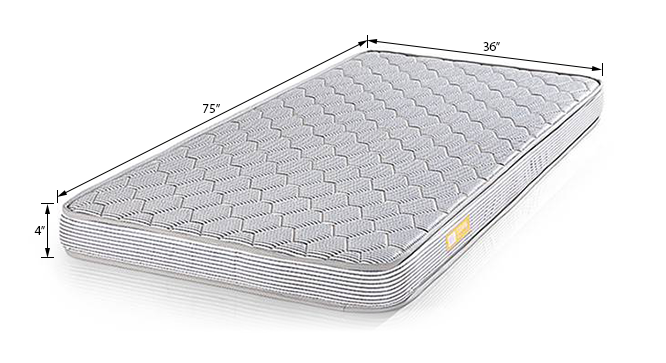 Essential Foam Mattress (Single Mattress Type, 75 x 36 in Mattress Size, 4 in Mattress Thickness (in Inches)) by Urban Ladder - Dimension Design 1 - 189527