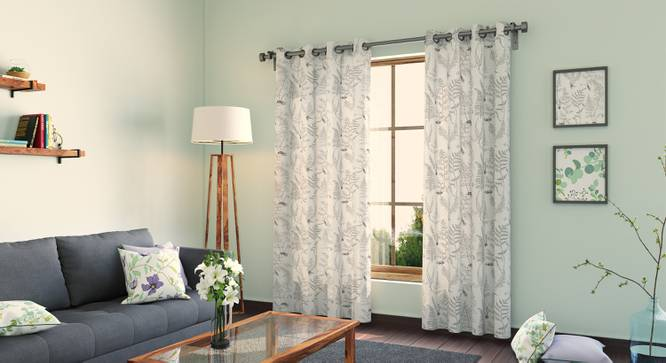"Wilderness Curtain - Set Of 2 (Door Curtain Type, 54""x84"" Curtain Size, Wild Fern Grey) by Urban Ladder"