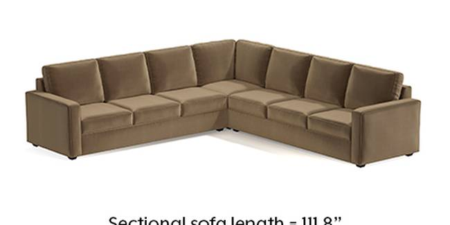 Apollo Sofa Set (Fabric Sofa Material, Regular Sofa Size, Soft Cushion Type, Corner Sofa Type, Corner Master Sofa Component, Fawn Velvet, Regular Back Type, Regular Back Height)