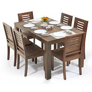 Arabia - Capra 6 Seater Dining Table Set (Teak Finish) by Urban Ladder