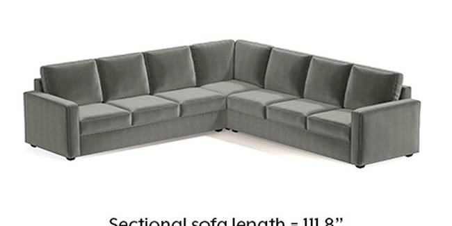 Apollo Sofa Set (Fabric Sofa Material, Regular Sofa Size, Soft Cushion Type, Corner Sofa Type, Corner Master Sofa Component, Ash Grey Velvet, Regular Back Type, Regular Back Height)