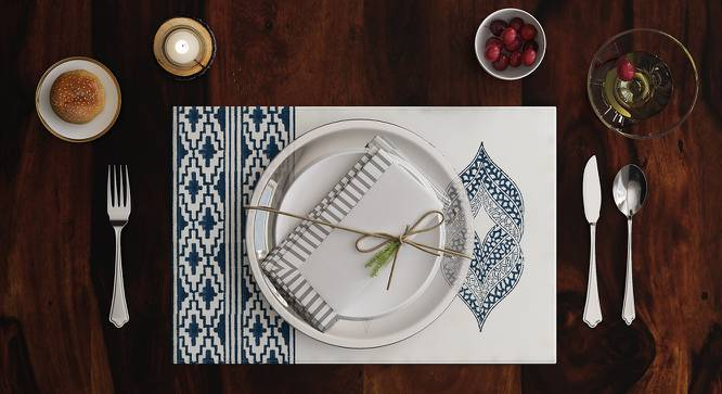 """Basra Table Mats - Set of 6 (Blue, 12"""" x 18"""" Table Linen Size) by Urban Ladder"""