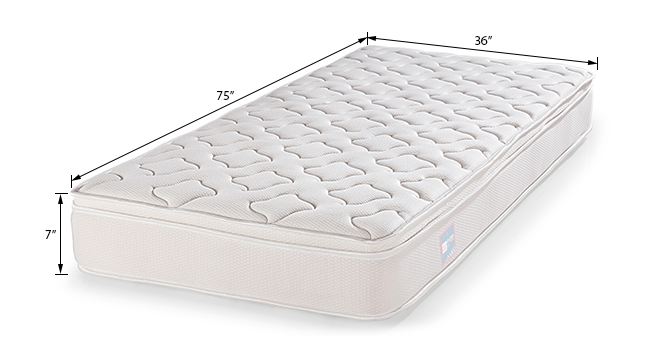 Cloud Eurotop Pocket Spring Mattress with Latex (Single Mattress Type, 75 x 36 in Mattress Size, 7 in Mattress Thickness (in Inches)) by Urban Ladder
