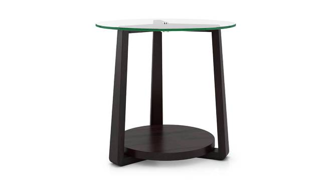 Jones Glass Top Side Table (Mahogany Finish) by Urban Ladder - Front View Design 1 - 195044