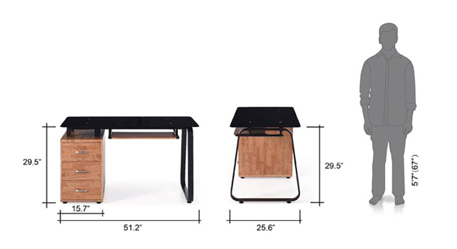 Eddings table with keyboard drawer golden oak 10