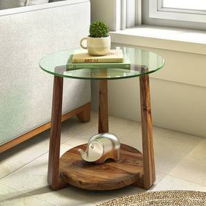 Jones Glass Top Side Table (Teak Finish) by Urban Ladder - Design 1 Full View - 195403