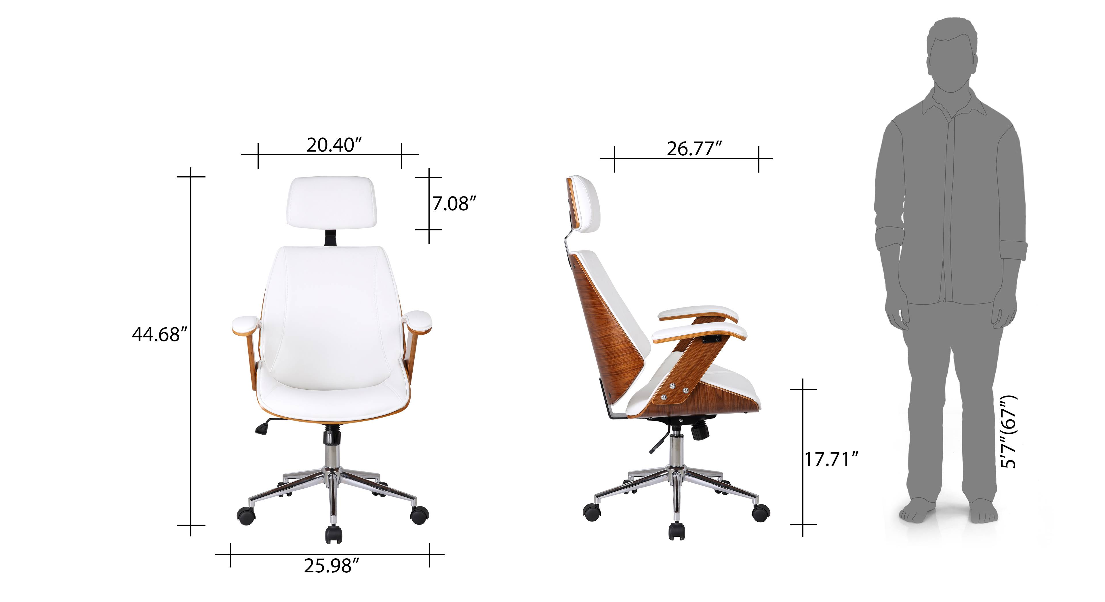 Ray executive study chair white 16
