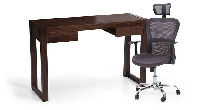 Austen - Venturi Study Set (Mahogany Finish, Ash Grey) by Urban Ladder