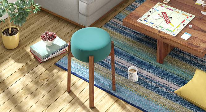 Kendrick Stool (Teak Finish, Blue) by Urban Ladder
