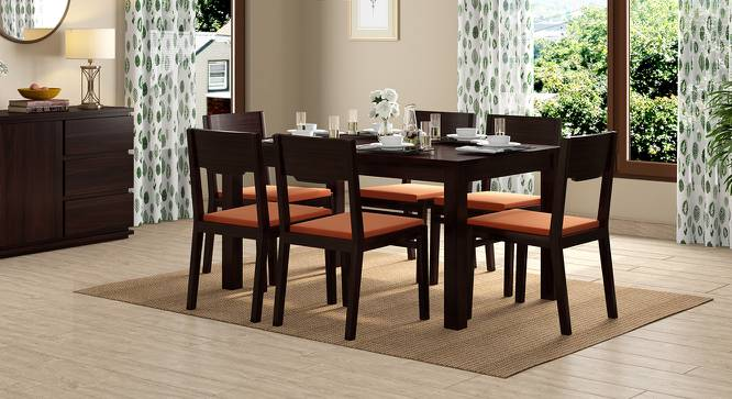 Arabia - Kerry 6 Seater Dining Table Set (Mahogany Finish, Burnt Orange) by Urban Ladder