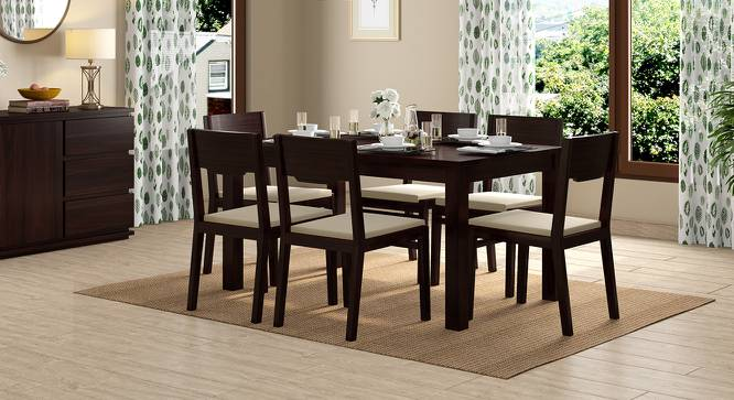 Arabia - Kerry 6 Seater Dining Table Set (Mahogany Finish, Wheat Brown) by Urban Ladder - Design 1 Full View - 196194