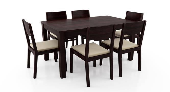 Arabia - Kerry 6 Seater Dining Table Set (Mahogany Finish, Wheat Brown) by Urban Ladder - Front View Design 1 - 196195