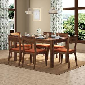 Arabia - Kerry 6 Seater Dining Table Set (Teak Finish, Burnt Orange) by Urban Ladder