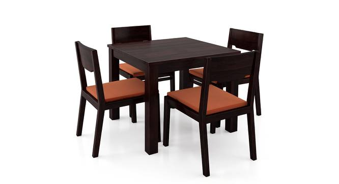 Arabia - Kerry Square 4 Seater Dining Table Set (Mahogany Finish, Burnt Orange) by Urban Ladder