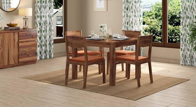 Arabia - Kerry Square 4 Seater Dining Table Set (Teak Finish, Burnt Orange) by Urban Ladder