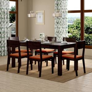 Arabia XL Storage - Kerry 6 Seater Dining Table Set (Mahogany Finish, Burnt Orange) by Urban Ladder - Design 1 Full View - 196314