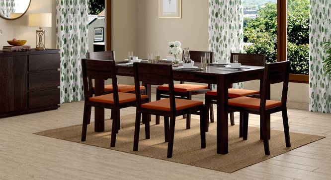 Arabia - Kerry XL 6 Seater Storage Dining Table Set (Mahogany Finish, Burnt Orange) by Urban Ladder