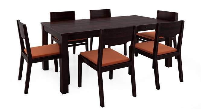 Arabia XL Storage - Kerry 6 Seater Dining Table Set (Mahogany Finish, Burnt Orange) by Urban Ladder - Front View Design 1 - 196315