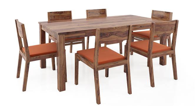 Arabia - Kerry XL 6 Seater Storage Dining Table Set (Teak Finish, Burnt Orange) by Urban Ladder