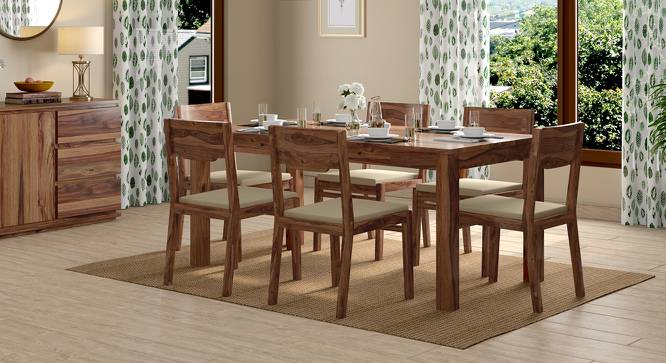 Arabia - Kerry XL 6 Seater Storage Dining Table Set (Teak Finish, Wheat Brown) by Urban Ladder