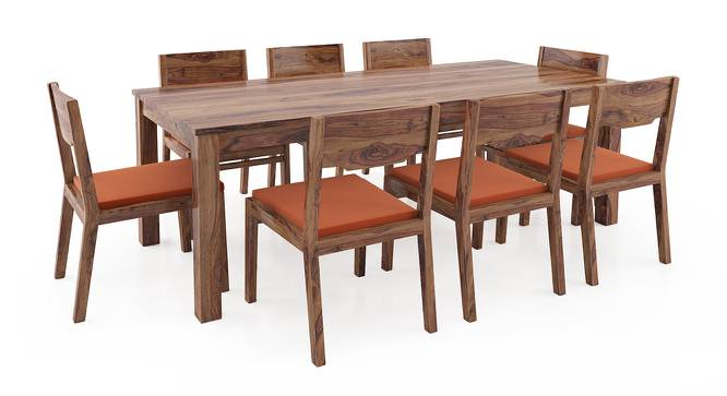 Arabia XXL - Kerry 8 Seater Dining Table Set (Teak Finish, Burnt Orange) by Urban Ladder