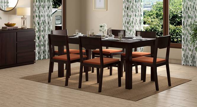 Brighton Large - Kerry 6 Seater Dining Table Set (Mahogany Finish, Burnt Orange) by Urban Ladder - Design 1 Full View - 196414