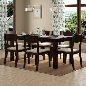 Brighton Large - Kerry 6 Seater Dining Table Set (Mahogany Finish, Wheat Brown) by Urban Ladder