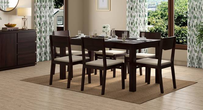 Brighton Large - Kerry 6 Seater Dining Table Set (Mahogany Finish, Wheat Brown) by Urban Ladder - Design 1 Full View - 196423