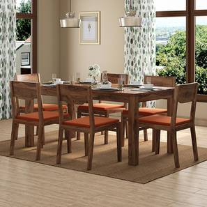 Brighton Large - Kerry 6 Seater Dining Table Set (Teak Finish, Burnt Orange) by Urban Ladder