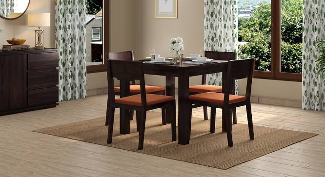 Arabia Storage - Kerry 4 Seater Dining Table Set (Mahogany Finish, Burnt Orange) by Urban Ladder - Design 1 Full View - 196456