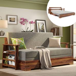 Mahim Sofa Cum Bed (Flint Grey, With Storage Arm Design) by Urban Ladder