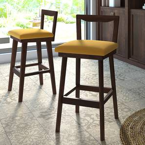 Homer Bar Stool - Set Of 2 (Walnut Finish, Yellow) by Urban Ladder
