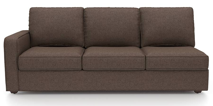 Apollo Sofa Set (Mocha, Fabric Sofa Material, Regular Sofa Size, Soft Cushion Type, Sectional Sofa Type, Right Aligned 3 Seater Sofa Component) by Urban Ladder