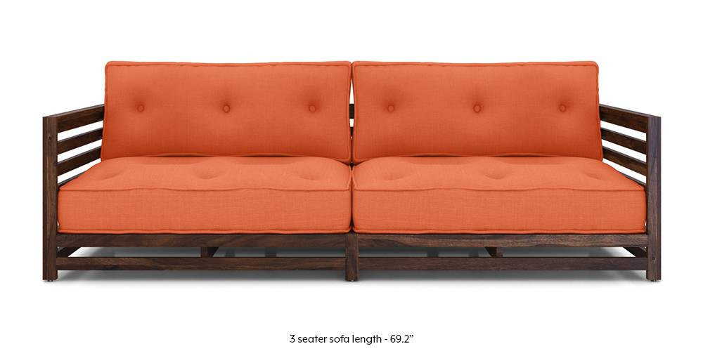 Raymond Low Wooden Sofa (Rust) by Urban Ladder