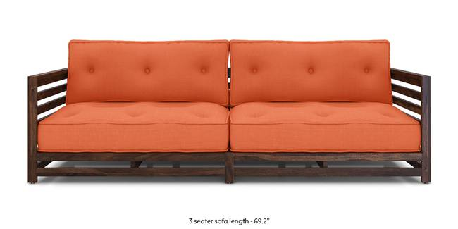 Idaho Low Wooden Sofa (Rust) (Rust, 1-seater Custom Set - Sofas, None Standard Set - Sofas, Fabric Sofa Material, Regular Sofa Size, Soft Cushion Type, Regular Sofa Type)