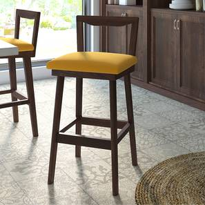 Homer Bar Stool (Walnut Finish, Yellow) by Urban Ladder - - 199303