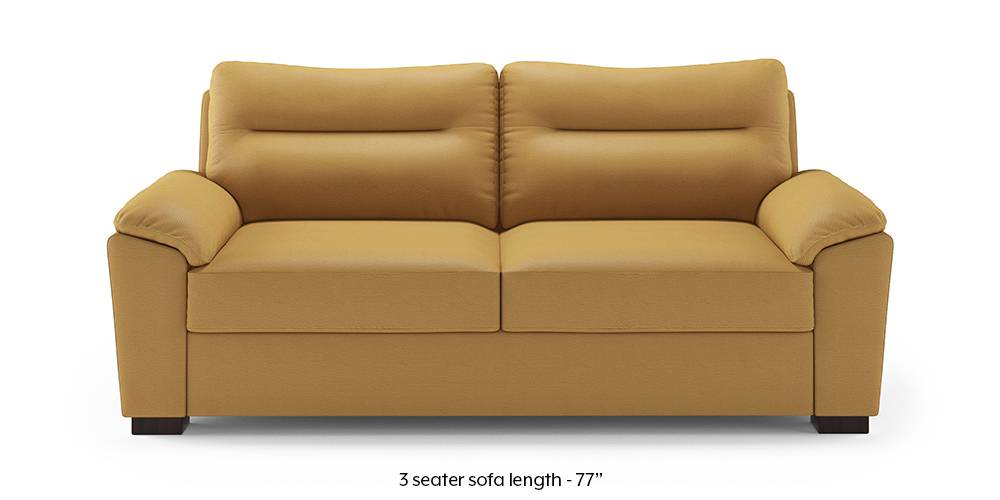 Adelaide Leatherette Sofa (Butterscotch) (1-seater Custom Set - Sofas, None Standard Set - Sofas, Butterscotch, Leatherette Sofa Material, Compact Sofa Size, Soft Cushion Type, Regular Sofa Type) by Urban Ladder