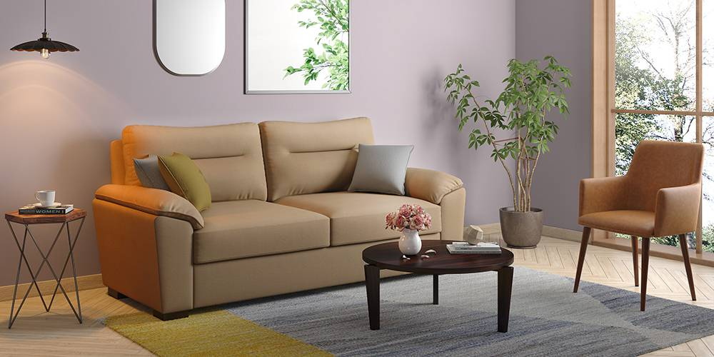 Adelaide Leatherette Sofa (Cappuccino) (2-seater Custom Set - Sofas, None Standard Set - Sofas, Cappuccino, Leatherette Sofa Material, Compact Sofa Size, Soft Cushion Type, Regular Sofa Type) by Urban Ladder